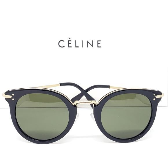 f4285944ec3 Celine Round Sunglasses Frame Black Gold